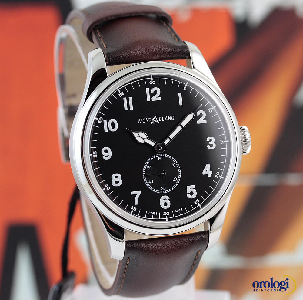 Details About Montblanc Men S 1858 Small Second Steel Brown Leather Automatic Watch Black Face