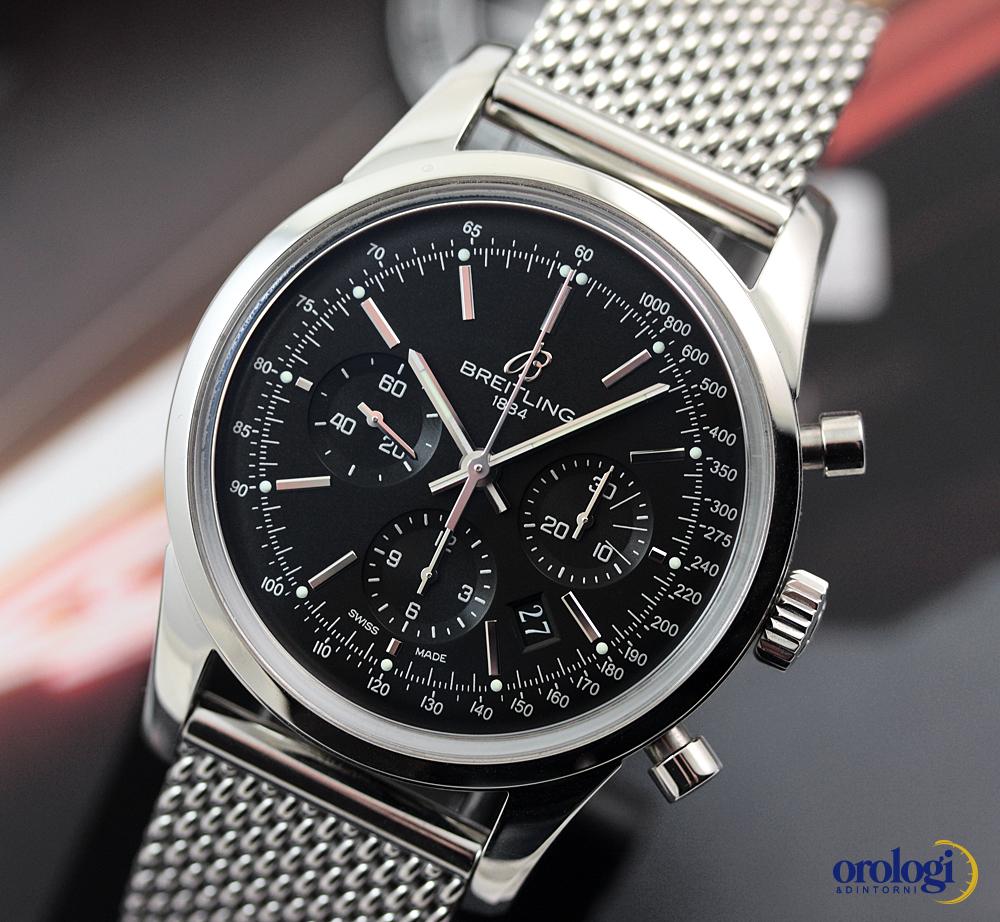 breitling transocean chronograph 43mm steel on steel black indexes men 39 s watch 877080289317 ebay. Black Bedroom Furniture Sets. Home Design Ideas