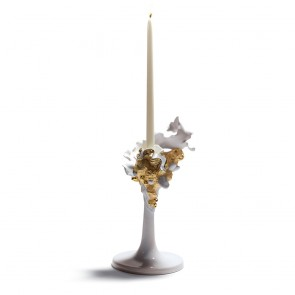 Lladro Porcelain NATURO -SINGLE CANDLE HOLDER GOLDEN ref. 01007963