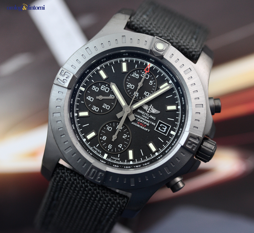 Breitling men 39 s colt chronograph automatic 44mm blacksteel on military strap ebay for Breitling automatic
